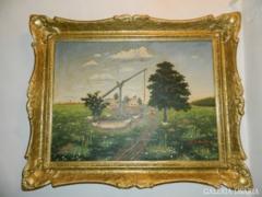 Óriási blondel keretes olaj / vászon jelzett festmény