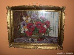 Régi,csodaszép pipacsos gobelin blondel keretben-86x68 cm