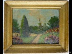 Y685 T0 Antik kisméretű olaj festmény virágos kert