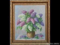 Y691 R1 Komlóssy L jelzéssel orgona virágcsendélet