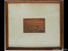 Y728 R1 Jelzett akvarell Nápolyi látkép