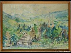 Y731 R1 Jelzett hegyvidéki tájkép akvarell