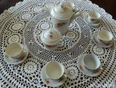 100 éves  pipacs mintás  zsolnay kávéskészlet