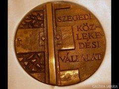 Y366 R5 Nagyméretű jelzett szegedi bronzplakett