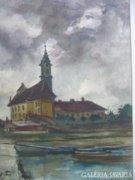 Weintráger Adolf : Templom 1959 JELZETT OLAJFESTMÉNY FESTMÉNY KÉP