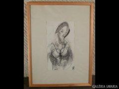 1707 T2 Ismeretlen grafika ábrándozó fiatal nő