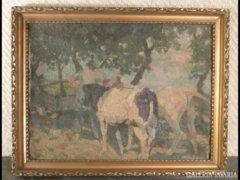 1817 T3 Nyugat európai festő HARR jelzett tehenek