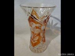 2028 C5 Régi borostyán színű csiszolt üveg váza