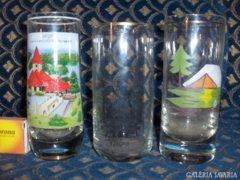 Retro emlék üveg pohár - 3 db
