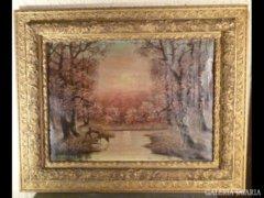 3057 T4 Hatalmas antik festmény erdőbelső alkony