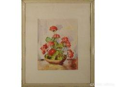 4221 T36 Jelzetlen akvarell papír virágcsendélet