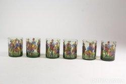 Festett whiskys pohár közép-kori dekorációval 5 db