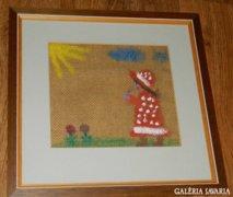 Zsákvászonra festett életkép > kislány virággal