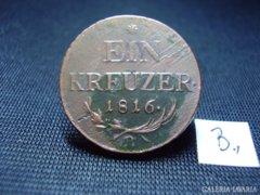 """1 Krajcár 1816  """"B"""" verdejel osztrák"""