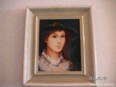 Női portré , olaj farost