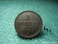 """1 krajcár 1851 """" A """" Bécs"""