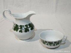 0723 Antik MEISSENI porcelán teáscsésze + kiöntő