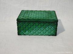 0792 Antik malachit hatású zöld üveg ékszertartó