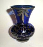 Kék ibolyaváza- gyönyörű, ezüstözött virágdíszítéssel