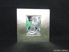6040 Szász Endre porcelán betétes fémdoboz