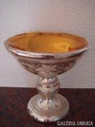 Bieder foncsorozott üveg antik talpas régi dísztál 15cm