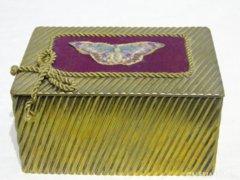 0817 Régi réz kártyadoboz díszdoboz bonbonier