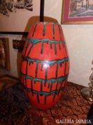 29 cm retro vörös-zöld kerámia hordóváza