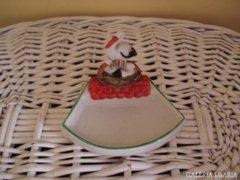 Német porcelán névjegytartó gólyafészekkel