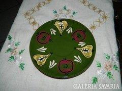 Kézműves kerámia zöld falitányér