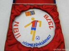 5932 Futball porcelán plakett NBII 1978 HMVH