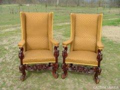 Barokk füles fotel pár