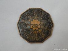 7003 Régi egyiptomi PULLMAN ASWAN rézplakett 8 cm