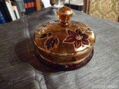 Csodaszép kézzel festett, aranyozott üveg bonbonier 15 cm