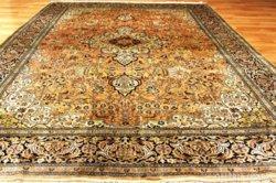 Ritka! Antik! selyem kézicsomózású perzsaszőnyeg 390x185cm,selyem selyemre csomózott,csillogó fény