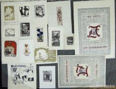 8293 Exlibris gyűjtemény mappában 15 darab