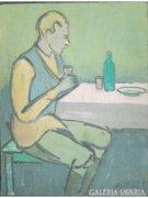 8350 Miklós István olaj fa festmény asztalnál