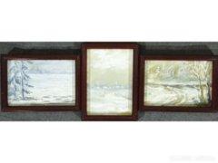 8241 Kisméretű akvarell téli tájkép 3 db