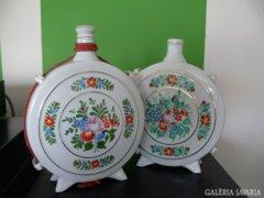 Hollóházi nagyméretű porcelán kulacs párban