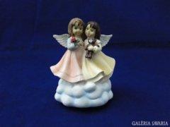 8132 Igényes műgyanta zenélő angyal pár 13 cm