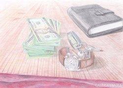 LAdrián: Csendélet amerikai dollárral és karórával