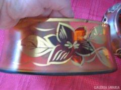 Gyönyörű cseh aranyozott üveg szett asztalára 3 db-os