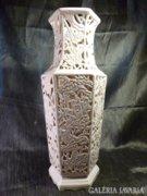 Hatalmas áttört falú biszkvit porcelán keleti váza 50 cm