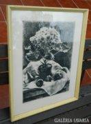 Kiss Terézia rézkarc - virágcsendélet
