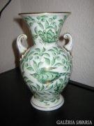 Herendi paradicsommadár mintás, ritka, 2 fülű váza