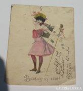 Múltidéző Boldog Új Évet! antik 1901-es képeslap üdvözlőlap a régi időkből