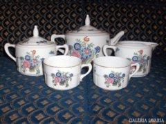 Pillangós-virágos antik teás készlet meglévő darabjai