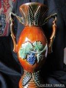 SZECESSZIÓS fajanc váza szöllös szőlő M: 28 cm