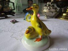 Kézzel festett kacsa páros porcelán AQUINCUM