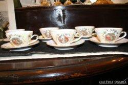 6db Kahla barokk mintás porcelán csésze késze alátéttel
