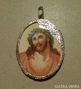 PORCELÁN  ezüst szent kép